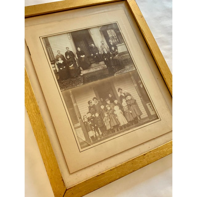 Two family portraits framed together in metallic gold frame. Wire at back for easy hanging.