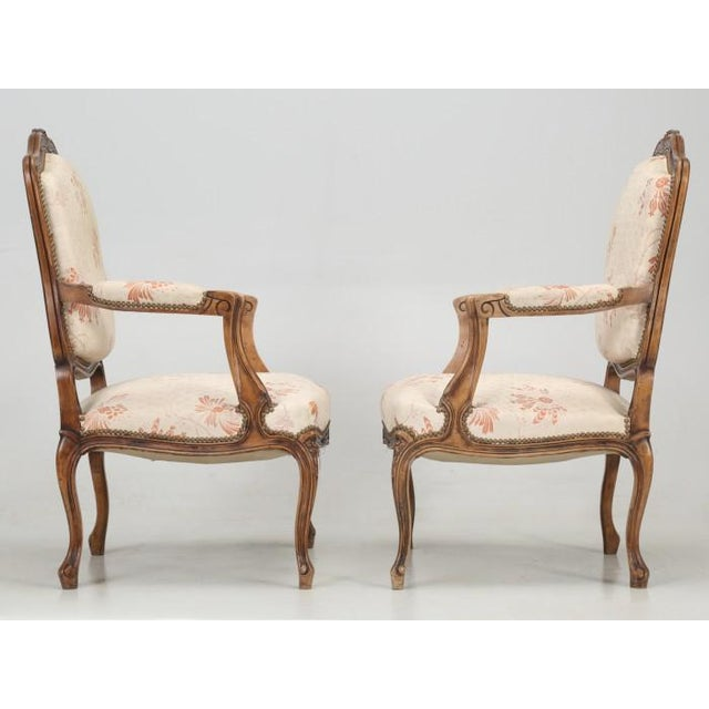French Antique French Louis XV Style Pair of Arm Chairs For Sale - Image 3 of 13