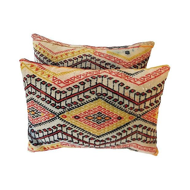 Antique Caucasian Soumak Pillows, Pair - Image 2 of 8