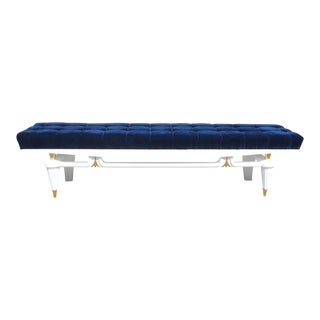 1940s Vintage Monumental French Art Deco White Lacquered Long Sitting Bench For Sale