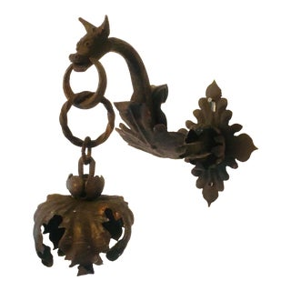 19th Century French Wrought Iron Gothic Revival Dragon Sconce For Sale