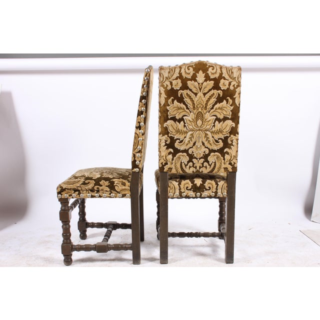 English Traditional English Damask Dining Chairs - Set of 4 For Sale - Image 3 of 5