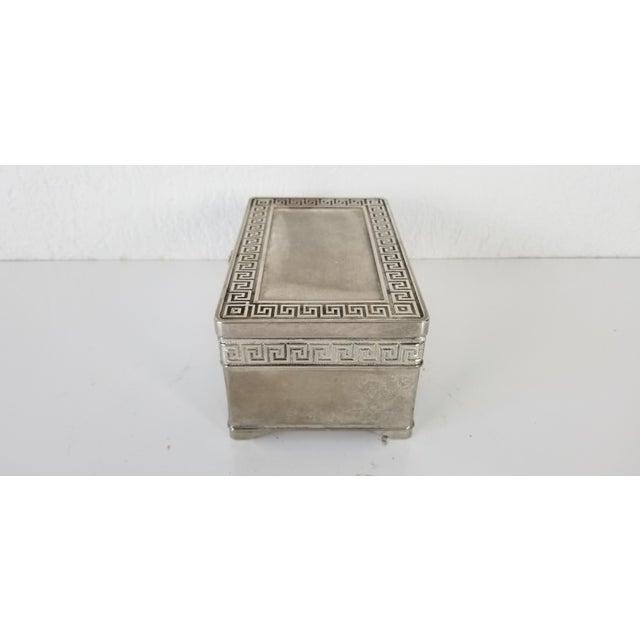 1980s Vintage Vera Lucino Greek Key Design Silver Plate Decorative Box For Sale - Image 5 of 10