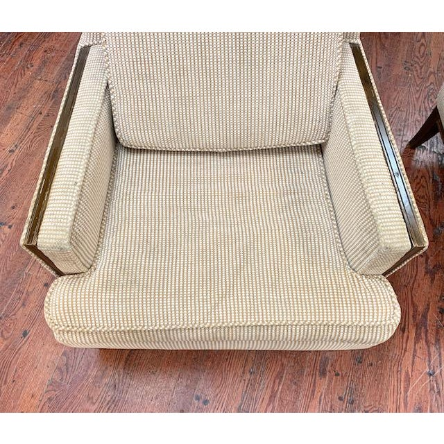 Pair, Mid Century Club Chairs on Beige For Sale In New York - Image 6 of 7