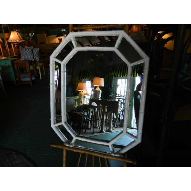Vintage White Lacquer Faux Bamboo Mirror - Image 4 of 5