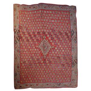 1880s Handmade Antique Turkish Oushak Kilim - 7.7' X 9.2' For Sale