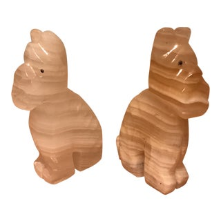 Onyx Dog Paper Weight - A Pair