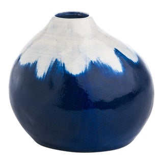 Indigo & White Vase For Sale
