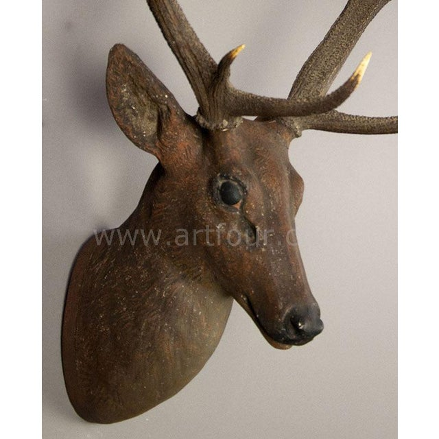 Rustic Black Forest Papier-Mache Stag Head 1900 For Sale - Image 4 of 5