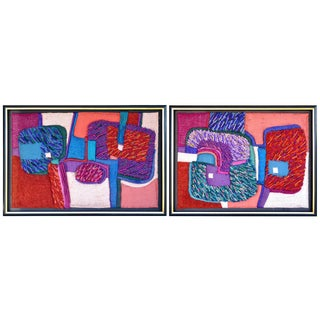 Large One of a Kind Modern Mixed Media Textile 3d Relief Assemblage Wall Hangings - Set of 2