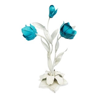 1970s Italian Tole Turquoise and White Floral Table Lamp For Sale