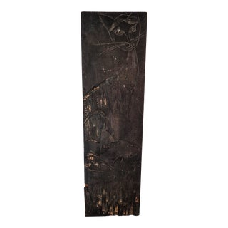 Contemporary Cat Carving Wood Plank For Sale