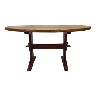 1960s Hunt Furniture Oval Dining Trestle Table For Sale
