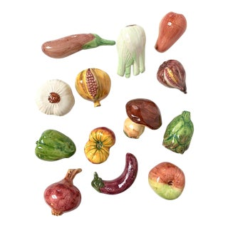 Vintage Italian Ceramic Fruits and Vegetables - Set of 13 For Sale