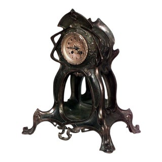 French Art Nouveau Metal Mantel Clock with Green Patina For Sale