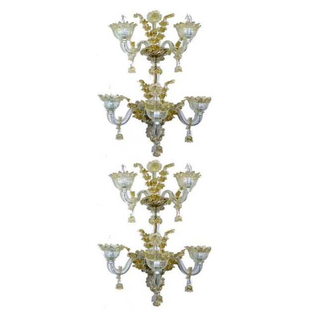 Mid 20th Century Spectacular Venetian Italian Gold Infused Murano Glass Sconces For Sale - Image 5 of 6