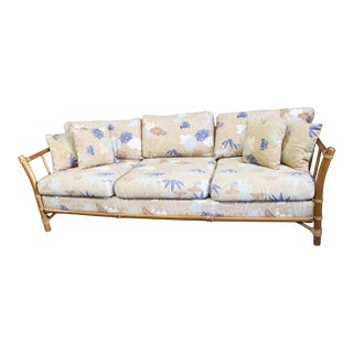 Lane Mid Century Faux Bamboo Sofa For Sale