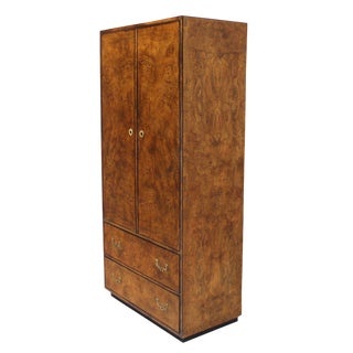 John Widdicomb Burl Wood Chifferobe Chest Cabinet Storage Brass Pulls For Sale