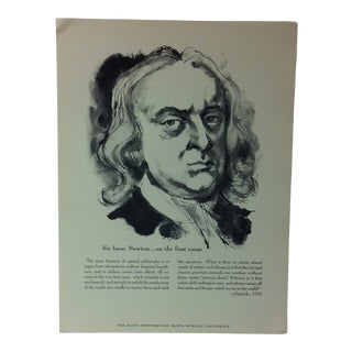 """1962 """"Sir Issac Newton - on the First Cause"""" The Rand Corporation Famous People in History Print For Sale"""