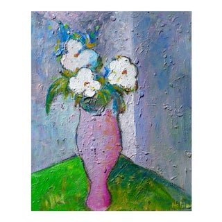 """Impressionist """"French Roses in a Vase"""" by Martha Holden For Sale"""