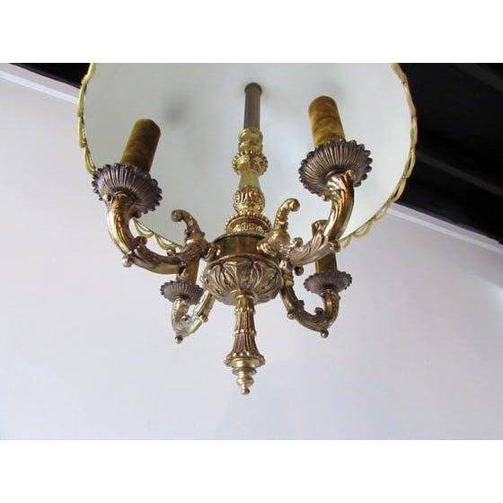 French French Brass & Velvet Pendant Light For Sale - Image 3 of 7