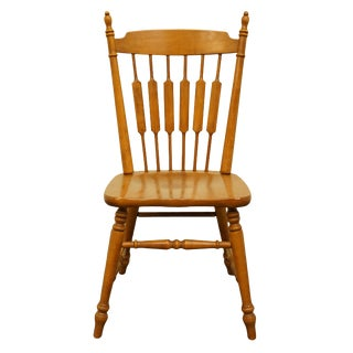 Late 20th Century Vintage Tell City Solid Maple Cattail Back Dining Side Chair For Sale