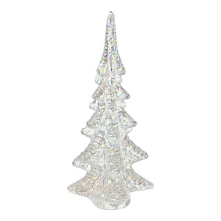 Pearl Iridescent Blown Art Glass Tree