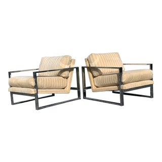 Mid-Century Modern Milo Baughman Style Chrome Lounge Chairs For Sale