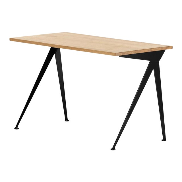 Jean Prouvé Compas Direction Desk in Natural Oak and Black Metal for Vitra For Sale