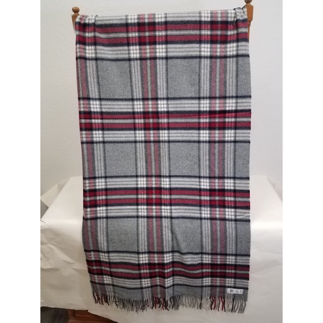 Wool Throw Red Black Gray White Plaid - Made in England A versatile throw in a plaid design. The colors are red, white,...
