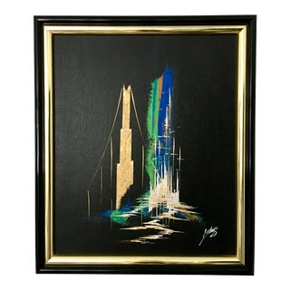 Mid 20th Century Modernist Cityscape Oil Painting, Framed For Sale