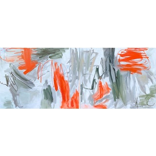 """""""Krakatoa"""" by Trixie Pitts Diptych Abstract Expressionist Oil Painting - a Pair For Sale"""