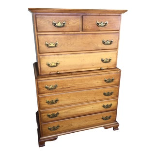 1950s Chippendale L. Stickley Cherry Valley 8 Drawer Chest on Chest For Sale