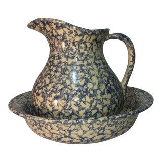 Robinson Ransbottom Spongeware Glaze Over Cream Pottery Ewer & Basin For Sale
