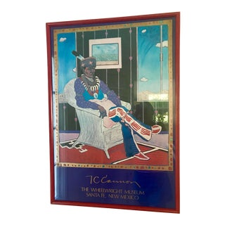 1970s Vintage Native American Tommy Wayne (T. C.) Cannon Wheelwright Museum Exhibition Color Lithograph Poster For Sale