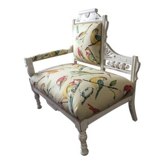 Early 1900s Eastlake Bird Print Upholstered Settee