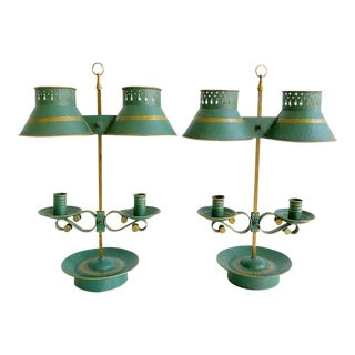 Antique Green Tole Candle Holder Lamps For Sale