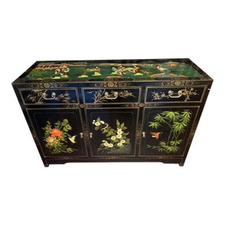 Mid 20th Century Asian Black Lacquer Hand-Painted Buffet For Sale
