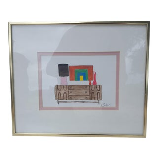 Original Palm Springs Mid Century Broyhill Brasilia Vignette Acrylic Painting Signed For Sale