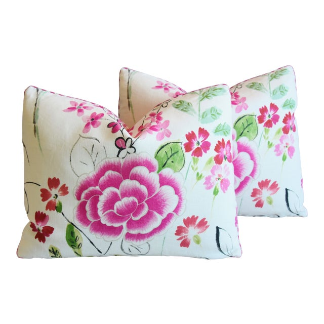 """French Manuel Canovas Floral Linen Feather/Down Pillows 23"""" X 17"""" - Pair For Sale"""