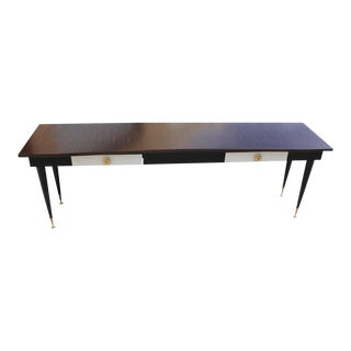 Monumental French Art Deco Macassar Ebony ,Parchment Drawer Console Table, Circa 1940. For Sale