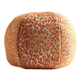 Aldeco Leopard Sphere Pillow in Orange For Sale
