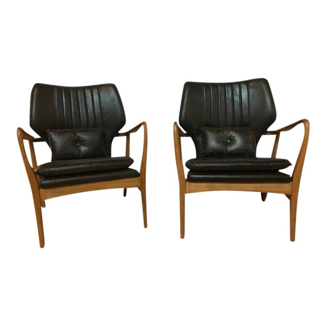 Danish Modern Leather Armchairs - A Pair For Sale
