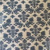 Image of Schumacher Iconic Regalia Blue Linen Fabric- 2 3/4 Yards For Sale