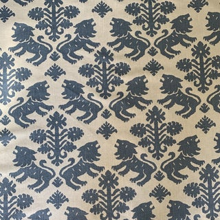 Schumacher Iconic Regalia Blue Linen Fabric- 2 3/4 Yards For Sale