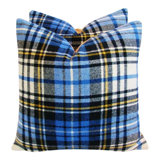 """Americana Vintage Scottish Tartan Plaid Wool Feather/Down Pillows 24"""" Square - Pair For Sale - Image 3 of 11"""