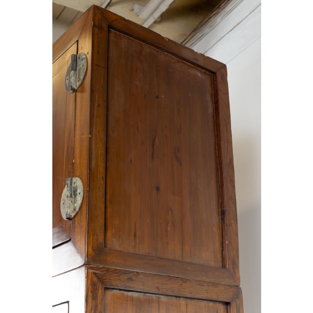 Metal Vintage Chinese Elm Compound Wedding Wardrobe in Two Parts With Metal Hinges For Sale - Image 7 of 13