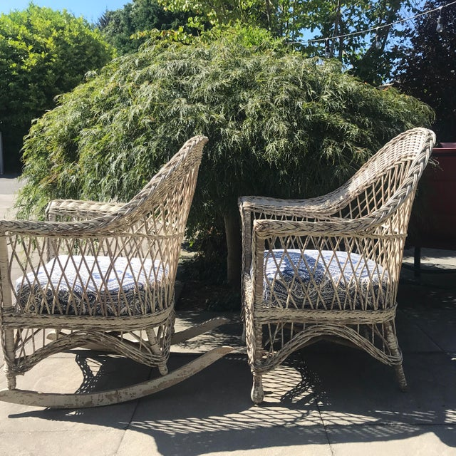 Gorgeous, shabby chic wicker rocker and matching chair. These are very sturdy & well made with no major structural issues....