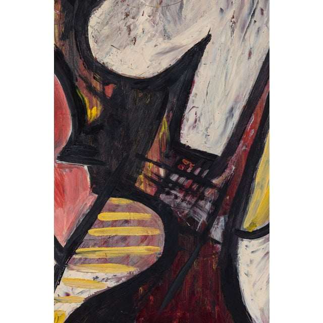 Black 20th Century Abstract Oil Painting on Board For Sale - Image 8 of 9