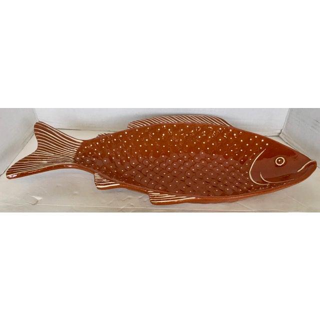 Vintage Rust Color Fish Platter For Sale - Image 9 of 9